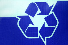 Recycled paper box. With recycling logo Royalty Free Stock Photos