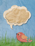 Recycled paper craft bird with speech bubble. Recycled paper craft, bird with speech bubble stock illustration