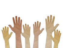 Recycled paper craft ,Human Hands raised up Stock Images