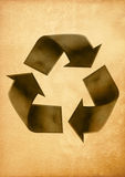 Recycled paper craft stick. On old paper Royalty Free Stock Photography