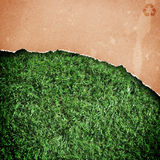 Recycled paper on grass. stock photo
