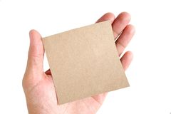 Recycled paper on hand Stock Photo