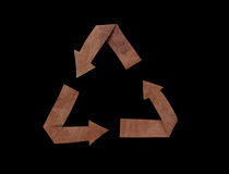 Recycled paper, isolated symbol on black Royalty Free Stock Photography