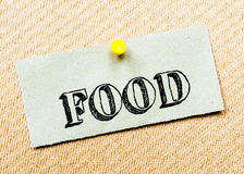 Recycled paper note pinned on cork board. Food Message Stock Photos