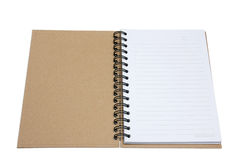 Recycled paper notebook cover open. In isolated royalty free stock photography