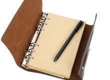 Recycled paper notebook with leather cover Royalty Free Stock Images