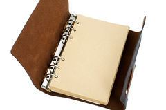 Recycled paper notebook with leather cover Stock Photo