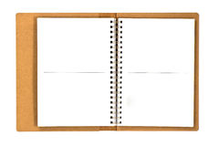 Recycled paper notebook opened stock photo