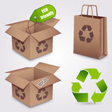 Recycled paper set. Icons about ecology concept stock illustration