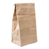 Recycled paper shopping bag isolated on white Royalty Free Stock Image