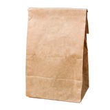 Recycled paper shopping bag isolated on white Stock Images