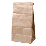 Recycled paper shopping bag on white background Royalty Free Stock Photos