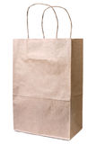 Recycled paper shopping bag on white background Stock Image