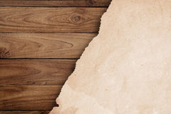 Recycled paper on wood royalty free stock images