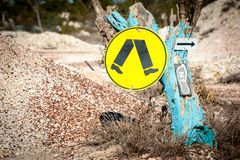 Recycled pedestrian sign royalty free stock photo