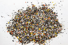 Recycled plastic bottles. Polymeric pellets.  Polymer  granules. Recycled plastic bottles. Polymeric pellets.  Polymer beads. Polyethylene granules Royalty Free Stock Image
