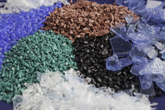 Recycled plastic polymers Stock Photo
