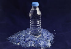 Recycled plastic polymers out of PET water bottle Stock Photos