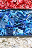 Recycled Plastic in Red, White and Blue Stock Images