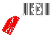 Recycled price. Vector illustration - barcode with recycled symbol and coupon Recycled price stock illustration