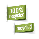 100% recycled product. Labels illustration Stock Photography