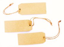 Recycled retro paper blank tags Royalty Free Stock Photos