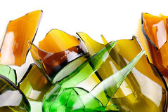 Recycled.Shattered green and brown bottle stock photography