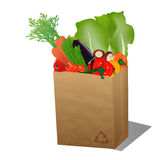 Recycled shopping paper bag with veggies. /Recycled sopping paper bag with recycle sign and veggies Stock Photography