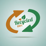 Recycled sign for organic products. Royalty Free Stock Photography