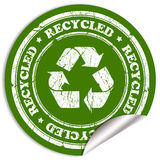 Recycled sticker. Recycled grunge sticker over white royalty free illustration