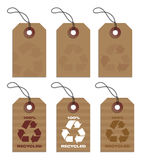 Recycled tags brown. Six recycled hang tags in light brown Stock Photo