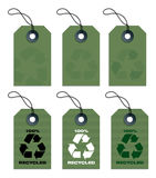 Recycled tags green. Six recycled hang tags in olive green vector illustration