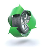 Recycled tire. 3D concept with rubber tire and green recycle symbol Royalty Free Stock Photo