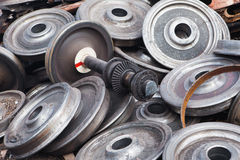 Recycled train wheels Royalty Free Stock Photos