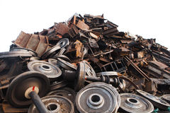 Recycled train wheels Stock Photos