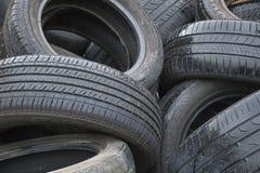 Recycled usou pneus do carro fotos de stock royalty free