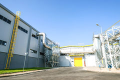 Recycled waste silo and pipeline system in recycling waste to energy plant Stock Photos