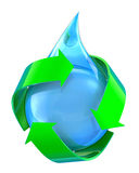 Recycled water. 3D concept with water drop and green arrows Stock Illustration