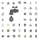 Recycled water icon. Eco and Alternative Energy vector icon set. Energy source electricity power resource set vector. Recycled water icon. Eco and Alternative Stock Images