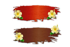 The recycled wooden sign with flowers. On white background Stock Images