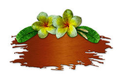 The recycled wooden sign with flowers. On white background Royalty Free Stock Image