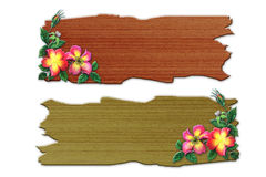 The recycled wooden sign with flowers Stock Photo
