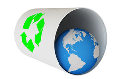 Recycled World. World globe in a garbage can isolated over a white background. This is a 3D rendered picture stock photo