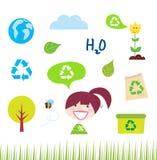 Recycleer, aard en ecologiepictogrammen op wit Stock Foto's