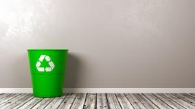 Recycleer Bak op Houten Vloer royalty-vrije illustratie