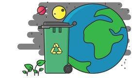 Recycleer bak sparen de aarde royalty-vrije illustratie