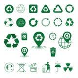 Recycleer de Groene Pijlen Logo Set Web Icon Collection van het Afvalsymbool Royalty-vrije Stock Afbeelding