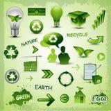 Recycleer de inzameling van milieupictogrammen Stock Foto