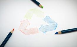Recycleer document tekening Stock Fotografie