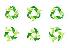 Recycleer embleem, cirkel natuurlijke groene bladeren die reeks van het ronde vectorontwerp van het symboolpictogram recycleren Royalty-vrije Stock Foto's
